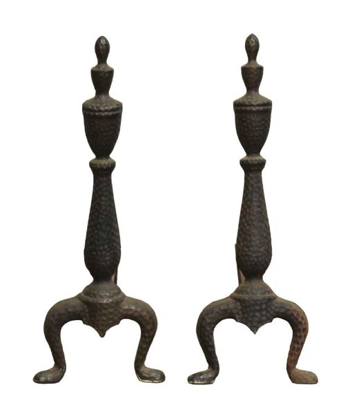 Pair of Hammered Arts & Crafts Andirons