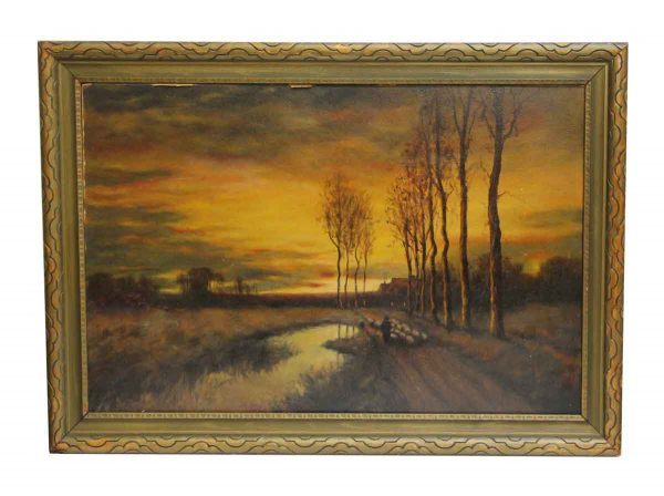 Framed Scenic Painting with Ornate Frame