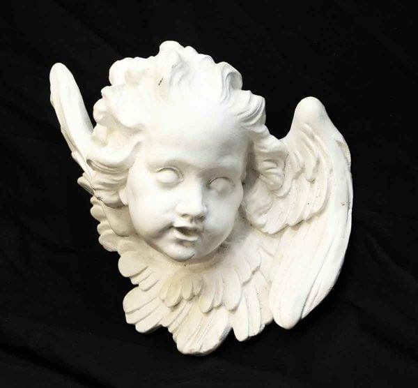 Painted White Plaster Cherub Head