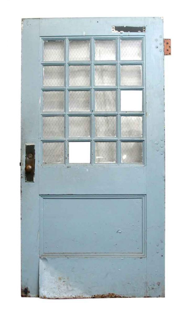 Metal Door with 20 Chicken Wire Glass Panes