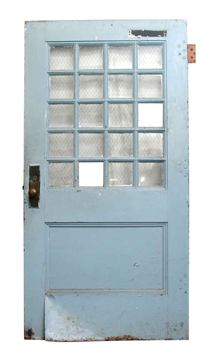 Metal door with 20 chicken wire glass panes olde good things - Commercial steel exterior doors with glass ...