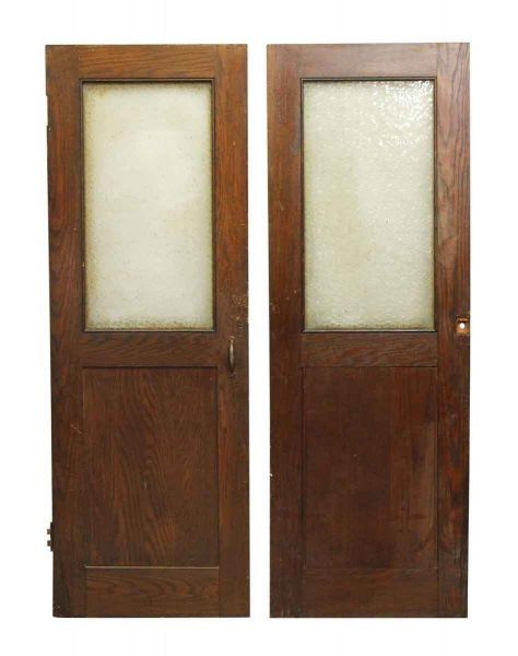Wood Doors with Snowflake Glass