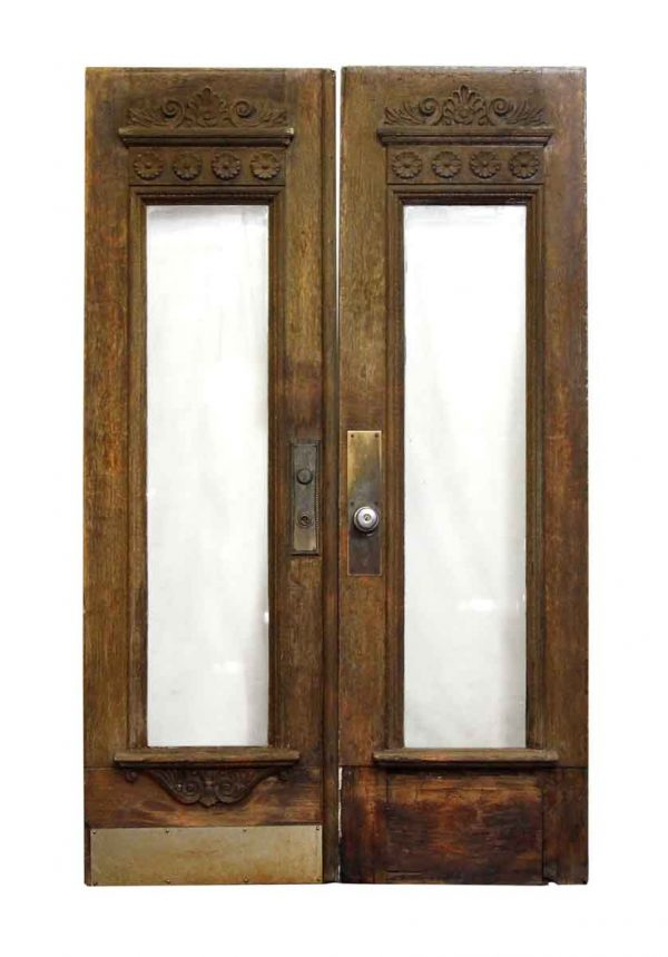 Pair of Carved Wooden Doors with Vertical Glass Panel