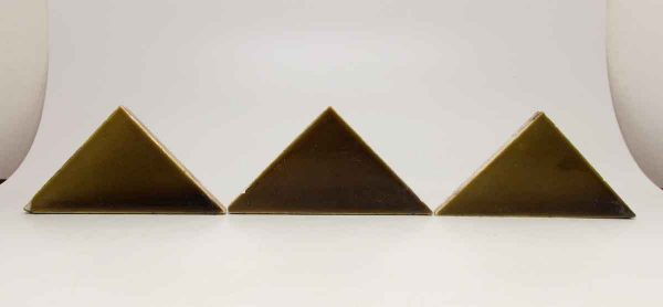 Set of Three Olive Green Crackled Triangular Tiles