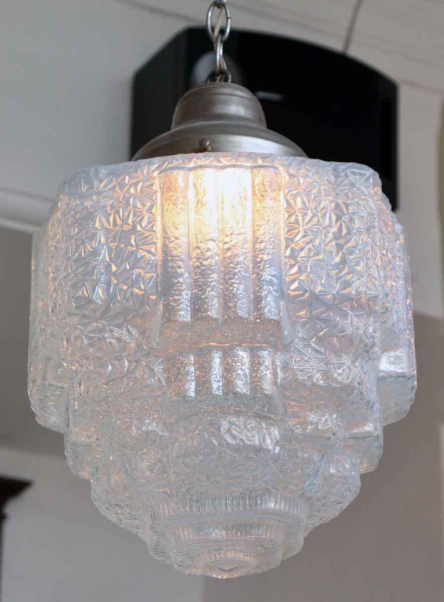 Opalescent Cast Glass Art Deco Pendant Light | Olde Good Things