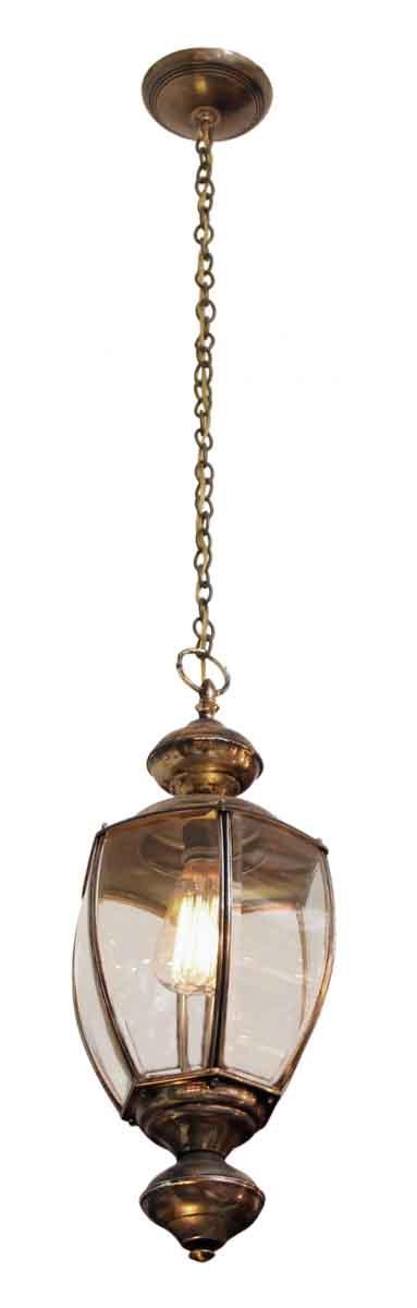 Pair of Single Bulb Brass Hanging Lanterns
