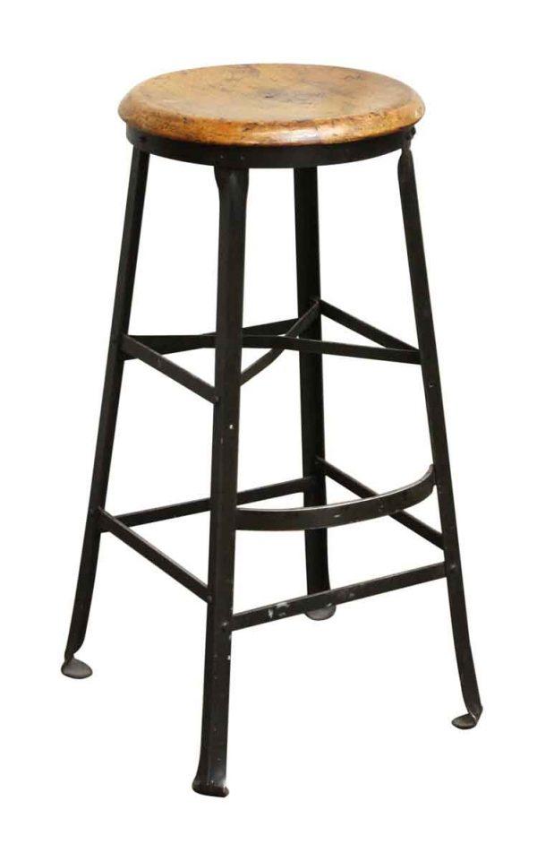 Dietzgen Wooden Seat Steel Stool with Footrest