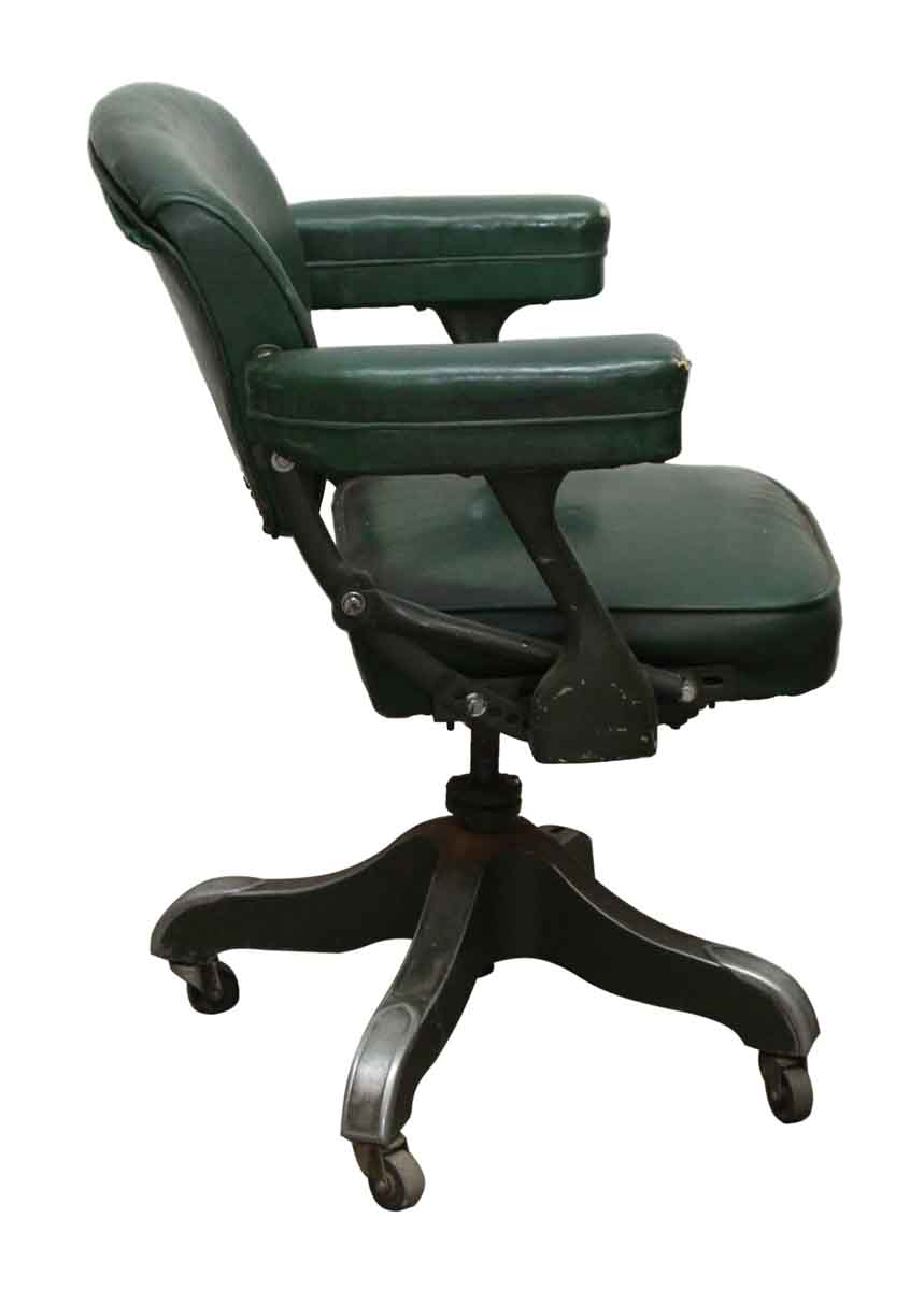 Green Leather Studded Rolling Office Chair Olde Good Things