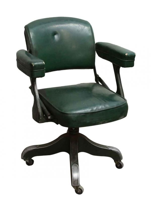 Green Leather Studded Rolling Office Chair