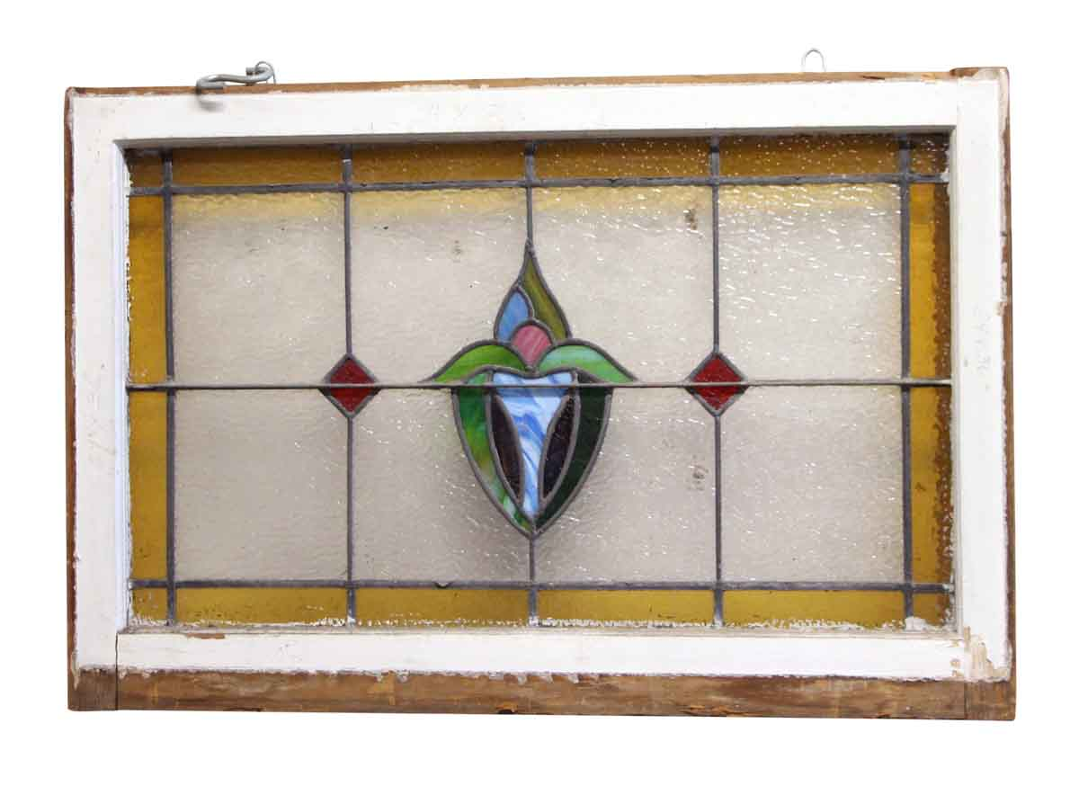stained glass window with wooden frame olde things
