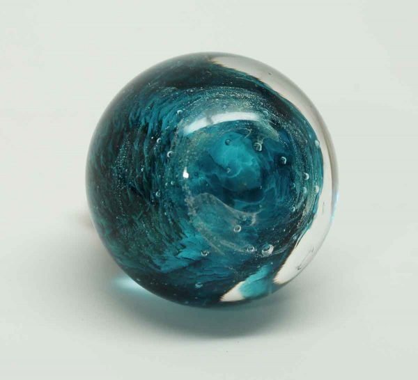 Single Blue Hand Blown Glass Pull