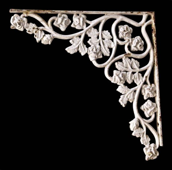 Large White Cast Iron Floral Bracket
