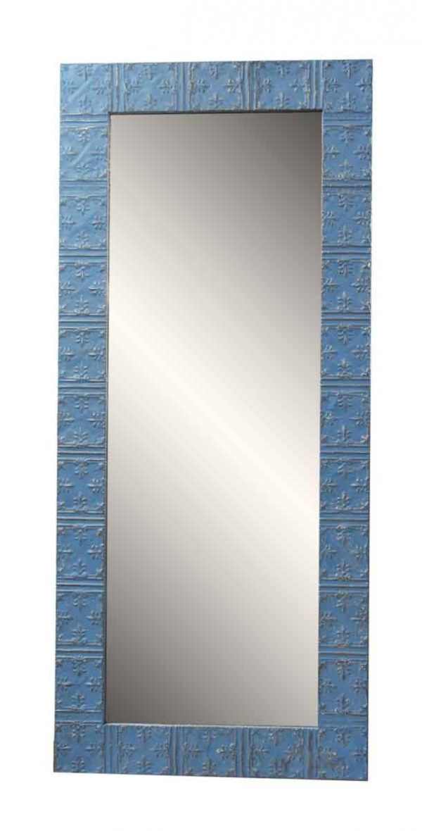 Tin Blue Mirror with Mini Fleur de Lis Design