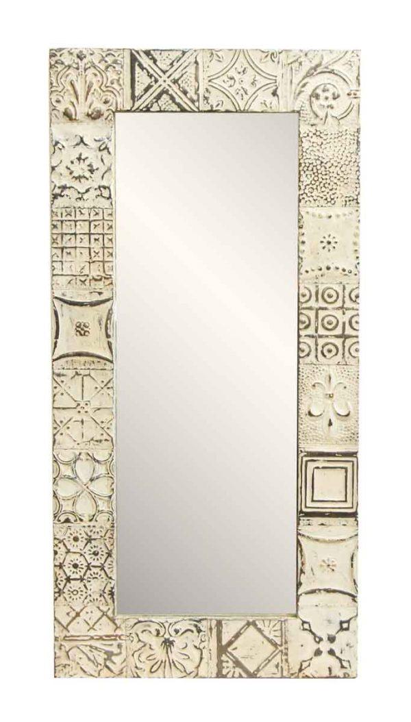 White Mixed Pattern Tin Mirror