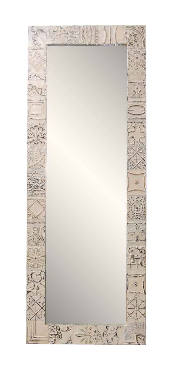 White Antique Tin Mirror with Mixed Pattern