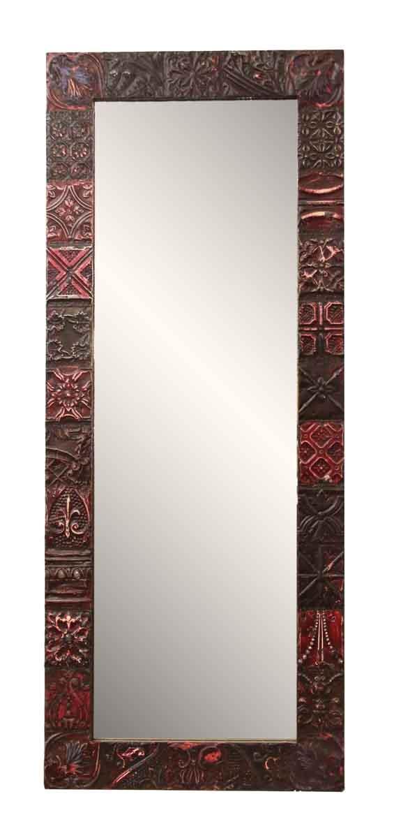 Burgundy Mixed Pattern Tin Mirror