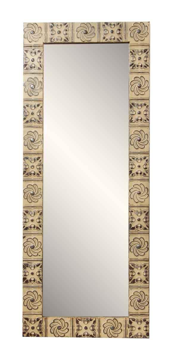 Mixed Pinwheel Pattern Antique Tin Mirror