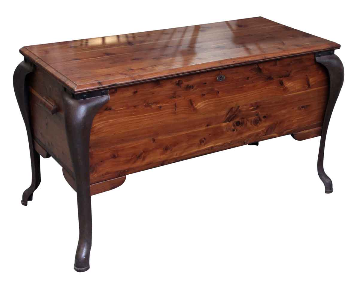 Vintage red cedar chest with cast iron legs olde good things for Caste furniture