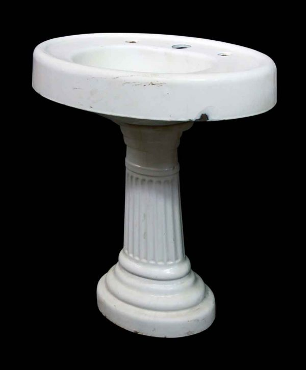 White Oval Pedestal Sink