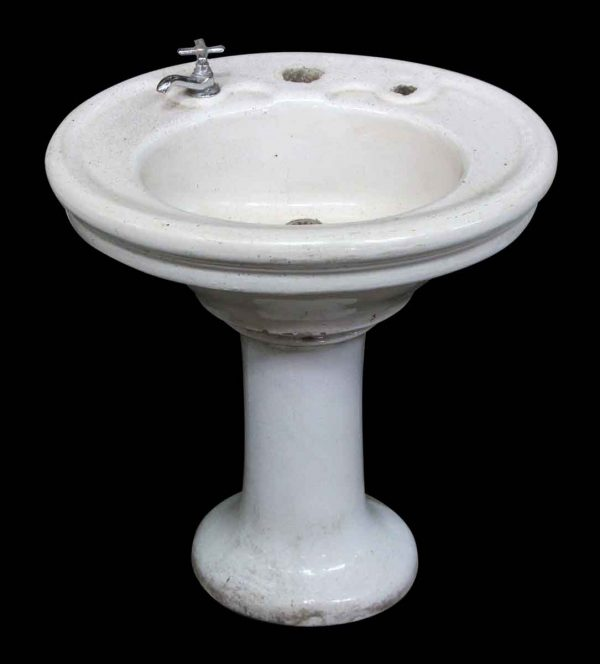 White Oval Pedestal Sink with Crackled Finish