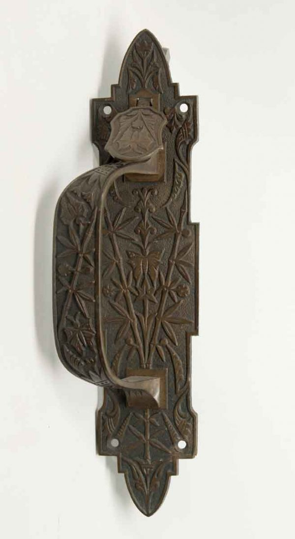 Small Ornate Bronze Door Handle with Butterfly Details