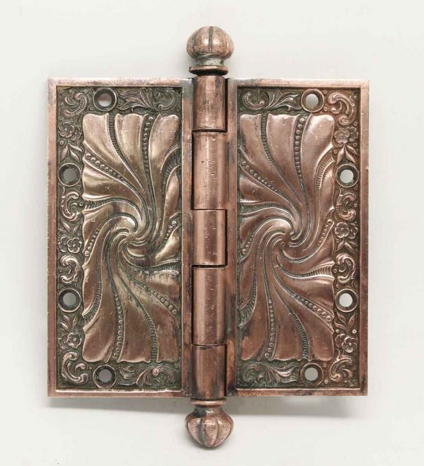 Ornate Art Nouveau Fluted Bronze Hinge