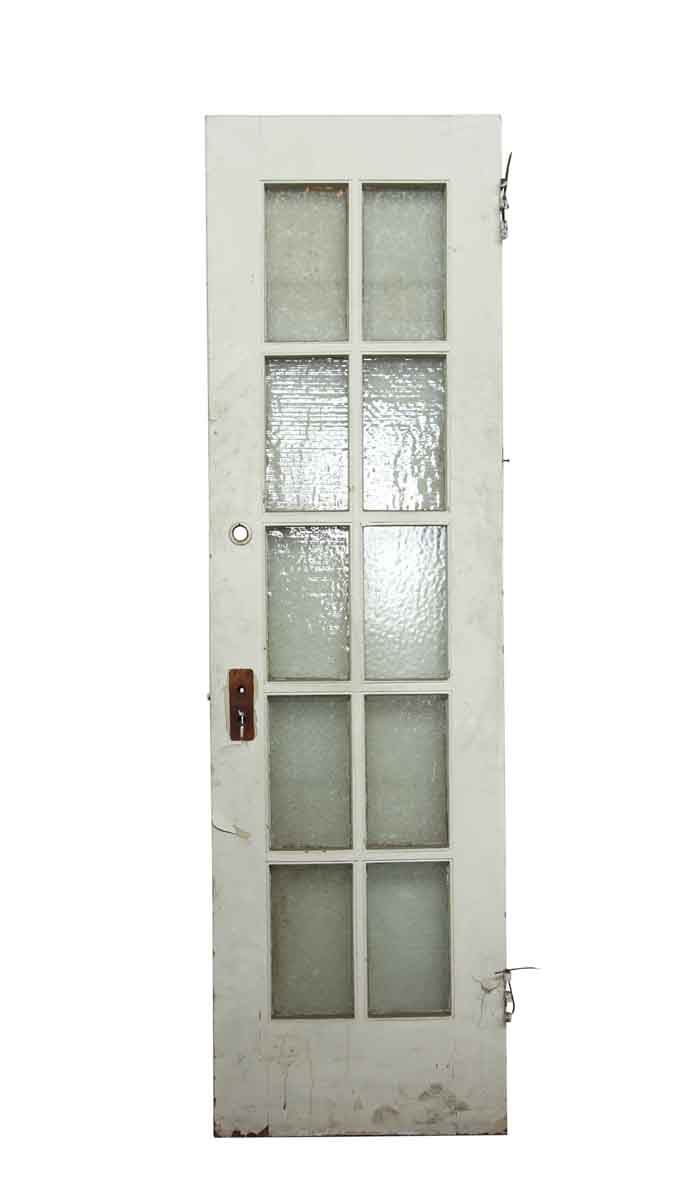Single white snowflake glass panel wood door olde good for Single glass french door