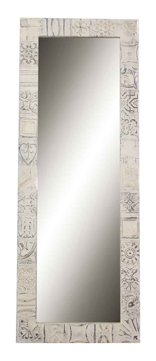 Mixed Pattern Tall White Tin Mirror
