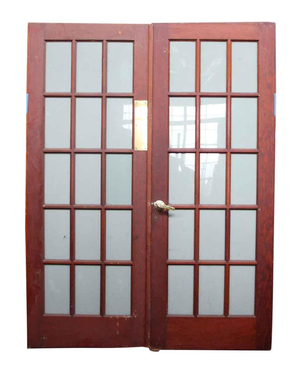 Pair of 15 glass panel wood doors olde good things for 15 panel door glass