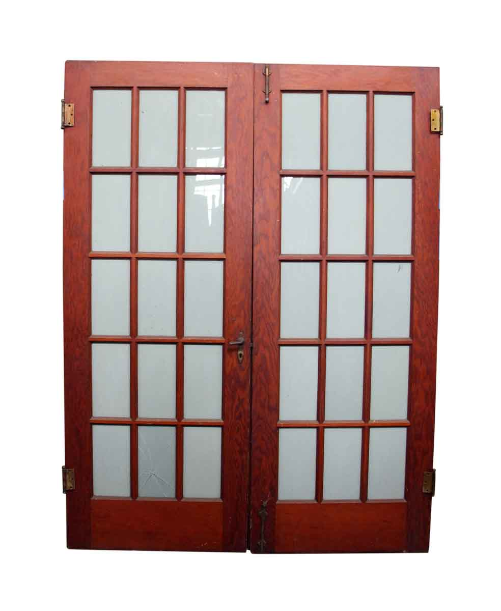 Pair of 15 glass panel wood doors olde good things for 15 window pane door
