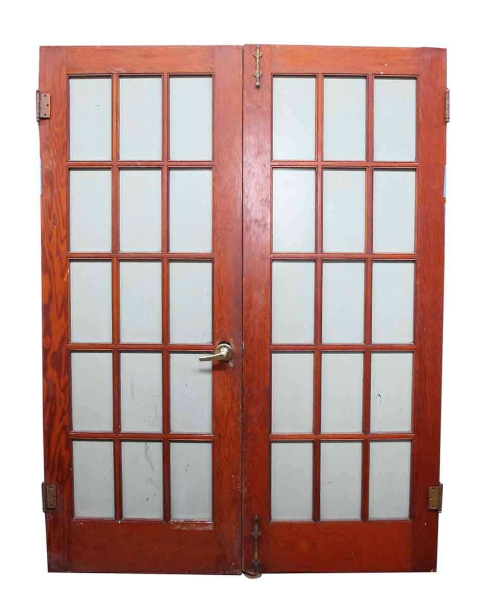 Pair of 15 glass panel wood doors olde good things for Wooden door with glass panel