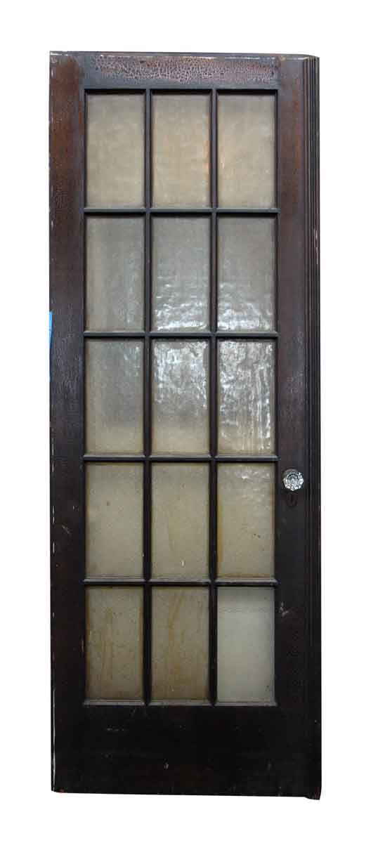 Wood door with 15 textured glass panels olde good things for 15 panel glass french door