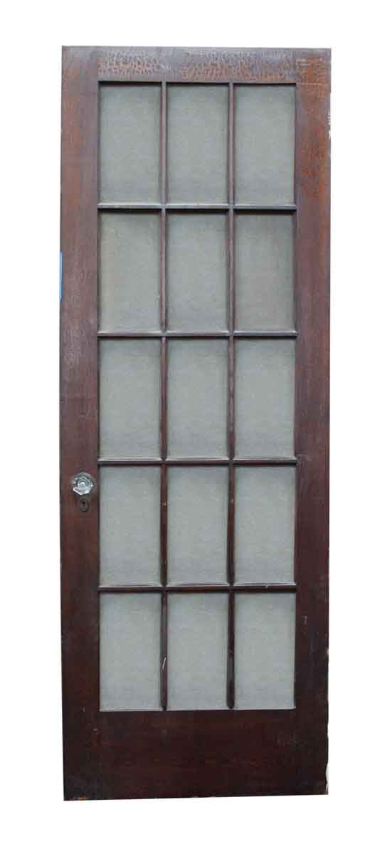 Wood Door with 15 Textured Glass Panels
