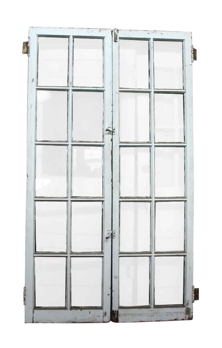 Pair of 10 beveled glass panel wood doors olde good things for 10 panel glazed door
