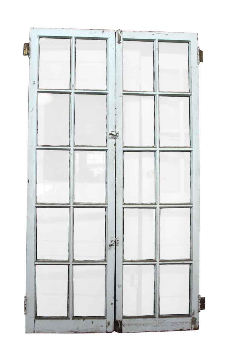 Pair of 10 beveled glass panel wood doors olde good things for 10 panel glass interior door