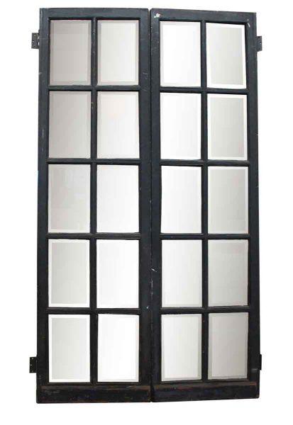 Pair of 10 Beveled Glass Panel Wood Doors