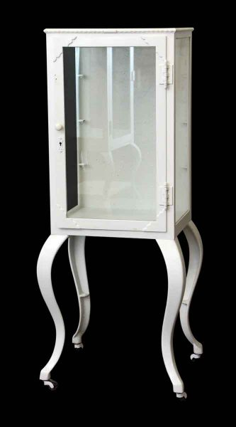 Deco White Metal Medical Cabinet with Glass Shelves