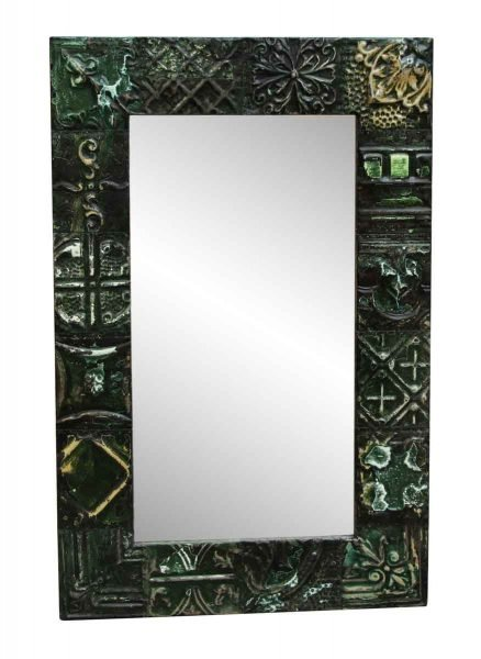Green Tin Panel Mirror with Mixed Patterns