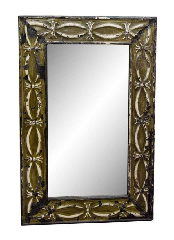 Green Tin Mirror with Fish Shape Design