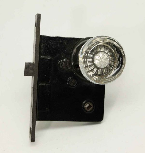 Art Deco Glass Knob Set with Mortise Lock
