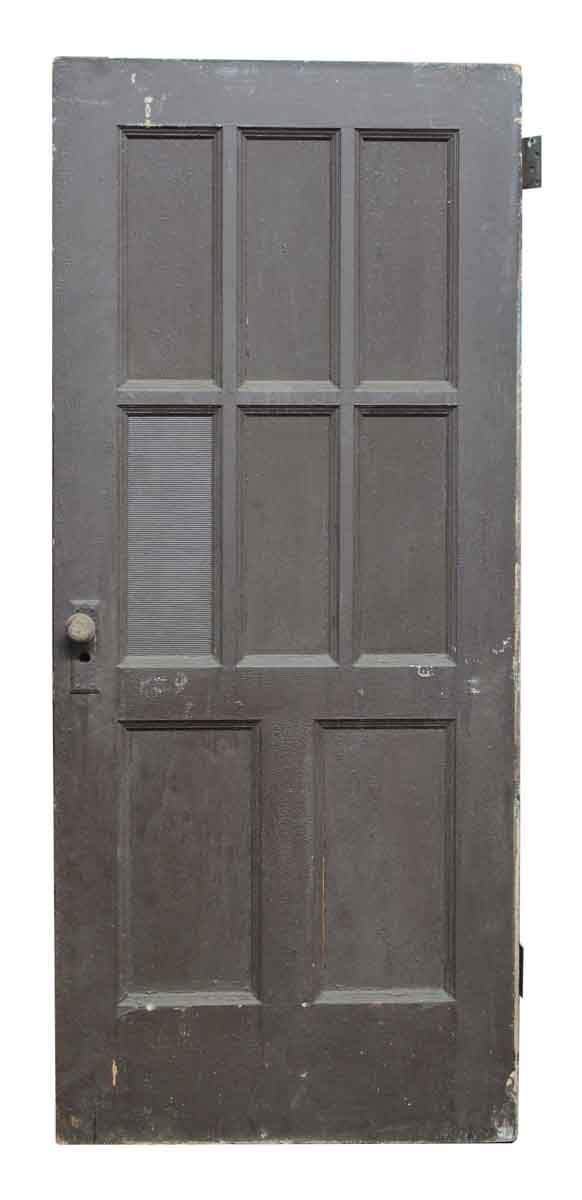 Eight panel wood door with ribbed glass olde good things for 12 pane exterior door