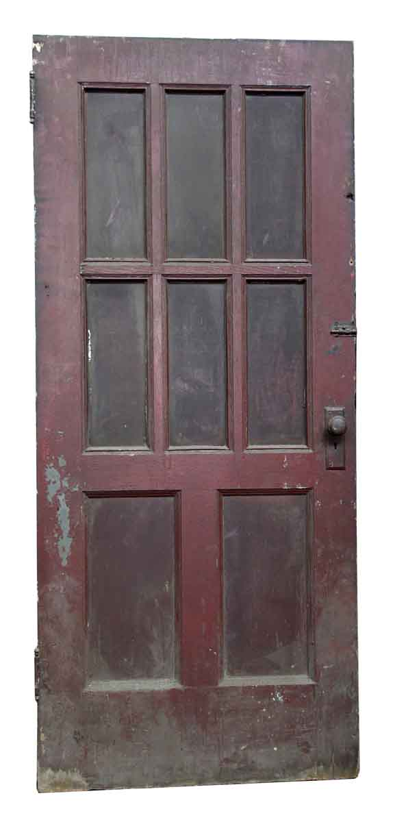 Eight Panel Wood Door with Ribbed Glass