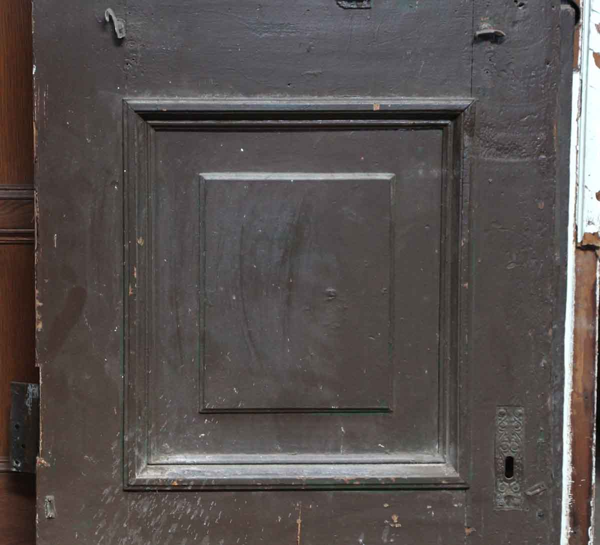 Single brownstone door with narrow glass panel olde good for Single entry door with glass