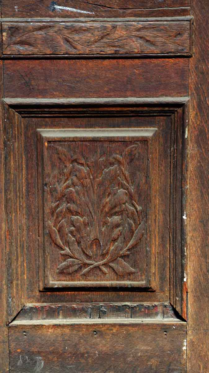 Carved single wood door with three panels olde good things
