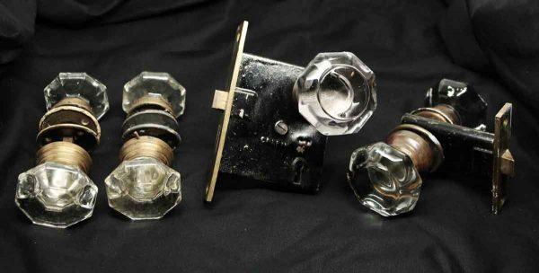 Glass Apostolic Cross Fixed Base Doorknob Set with Mortise Lock