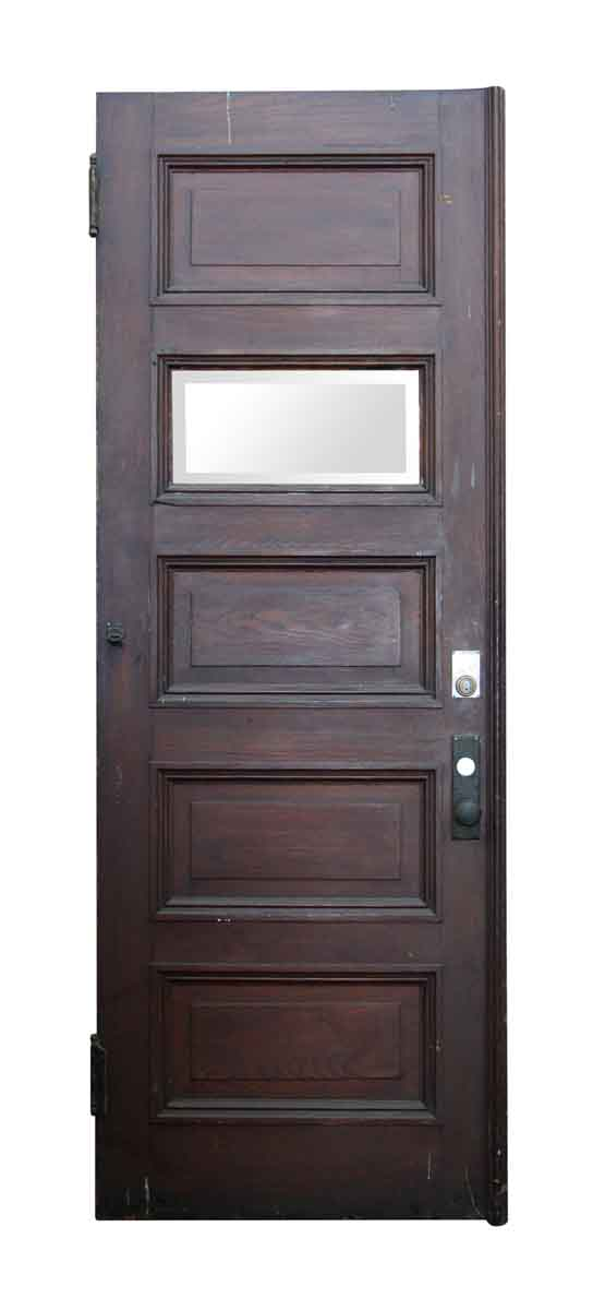 Five Horizontal Glass & Wood Panel Door