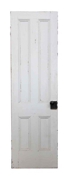 White Wood Door with Four Vertical Panels