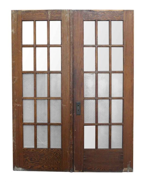 Pair of Doors with 15 Vertical Glass Panels
