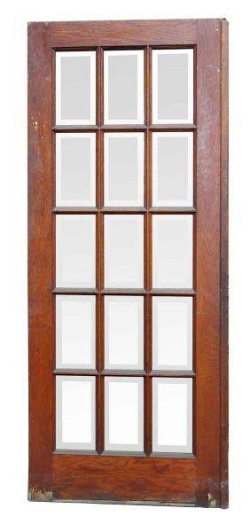 Door with 15 Beveled Vertical Glass Panels