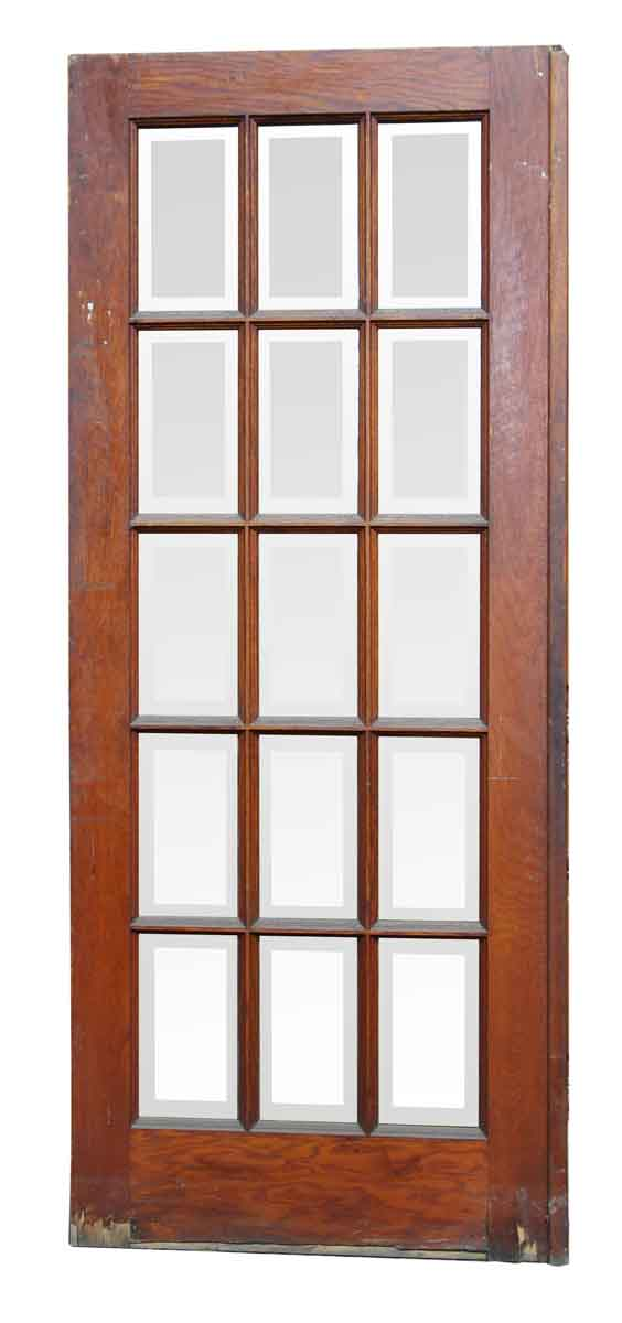 Door with 15 Beveled Vertical Glass Panels